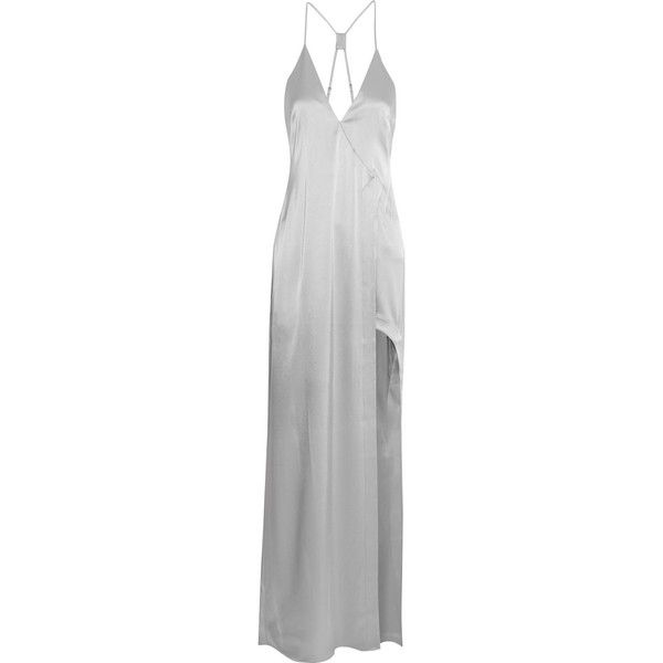 Halston Heritage Asymmetric satin gown (845 AUD) ❤ liked on Polyvore featuring dresses, gowns, halston heritage, silver, grey, halston heritage gown, gray evening dress, satin ball gown, satin dress and grey evening dresses