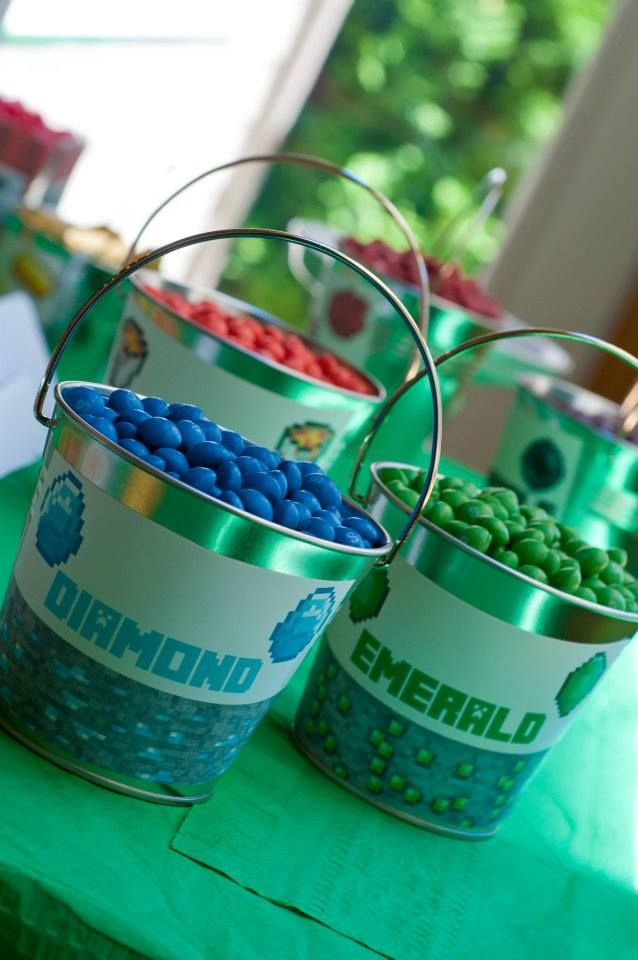 Minecraft Party -jewels = rock candy, sixlets, chocolate almonds, gumballs, the possibilities are endless! #candycratedotcom