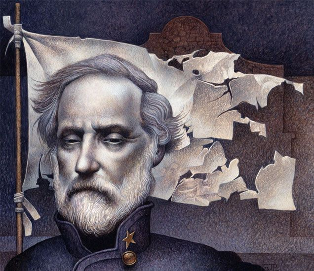 """Lee at the Alamo"" by Harry Turtledove. Art by John Jude Palencar. How Robert E. Lee wound up fighting…for the Union."