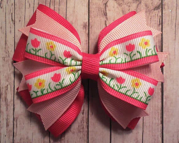 Flower Hair Bow Easter / Spring / Summer by KathrynsRainBOWtique, $5.00