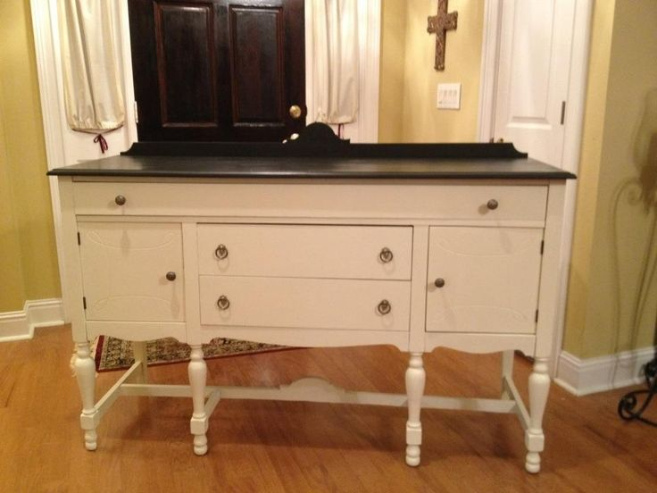 Lovely buffet, painted old white and black satin.--- Destiny Decor