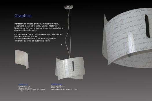 Graphics Sospensione in vetro serigrafato e piegato   SCHEDA TECNICA Dimensioni: Diametro 45 cm - Altezza min. 40 cm  Portalampade: max 2 x 60W E27 / 230V