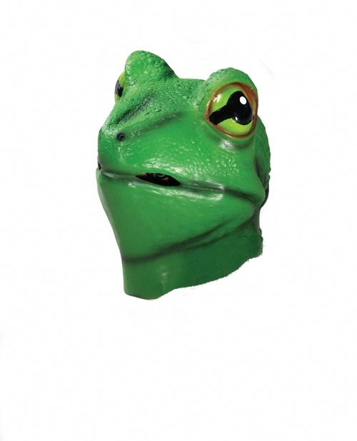 Frog Deluxe Latex Animal Mask - This is a full face latex frog mask. There are holes at the mouth for vision and breathing. This has been made for adults and is not intended for children under 14 years of age. #yyc #costume #animal #mask