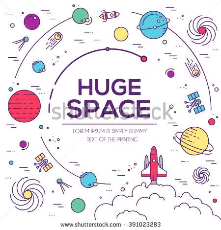 Set of huge space universe illustration. Space infographic. Space icon. Space thin lines background. Space flat elements. Space label. Space concept design. Outer space rocket flying into solar system