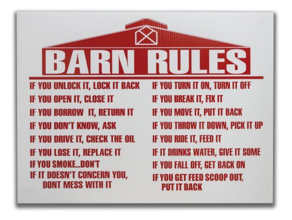 "18"" x 24"" Barn rules sign"