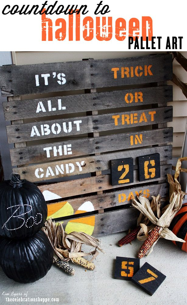 Countdown to Halloween Pallet Sign for Your Porch ~ It's All About The Candy! | TheCelebrationShoppe.com #Halloween #pallet