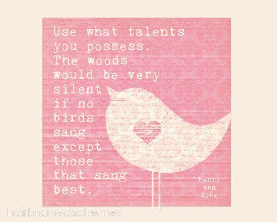 Songbird Typography Poster - Digital Art Print - Inspirational Motivational Wall Art Damask