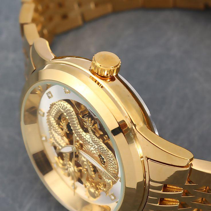 POLOBOSS Charming Watch Dragon Rhinestone Mechanical Automatic Watch  #women #men #fashion #jewelry #watches