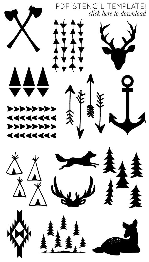 i will need these one day im sure printable arrow and antler templates diy printables. Black Bedroom Furniture Sets. Home Design Ideas