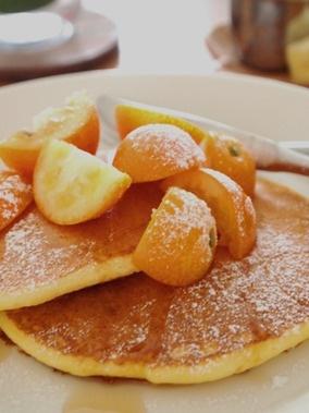 Japanese  citrus(Kinkan) pancake! / 金柑のっけ♪リコッタチーズのパンケーキ