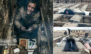 Homeless living in graves -The pictures were taken in a cemetery close to Tehran, where around 50 men, women and children are reported to have been seeking shelter from freezing cold temperatures.