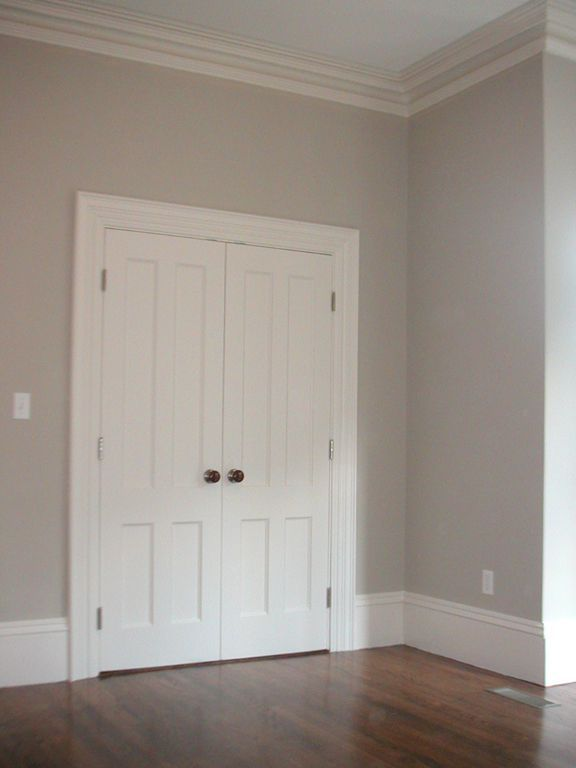 Benjamin Moore Early Morning Mist, so pretty with white trim