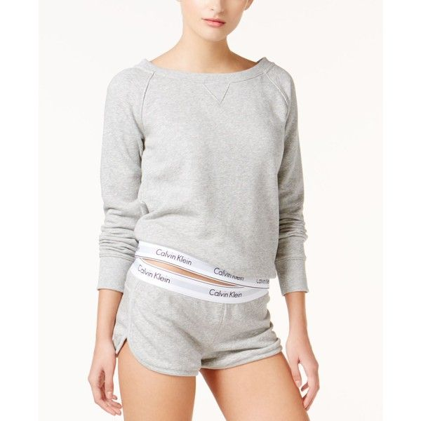 Calvin Klein Modern Cotton Long Sleeve Top QS5718 ($68) ❤ liked on Polyvore featuring intimates, sleepwear, pajamas, grey heather, cotton pajamas, cotton pjs, cotton sleep wear, calvin klein pajamas and pj tops