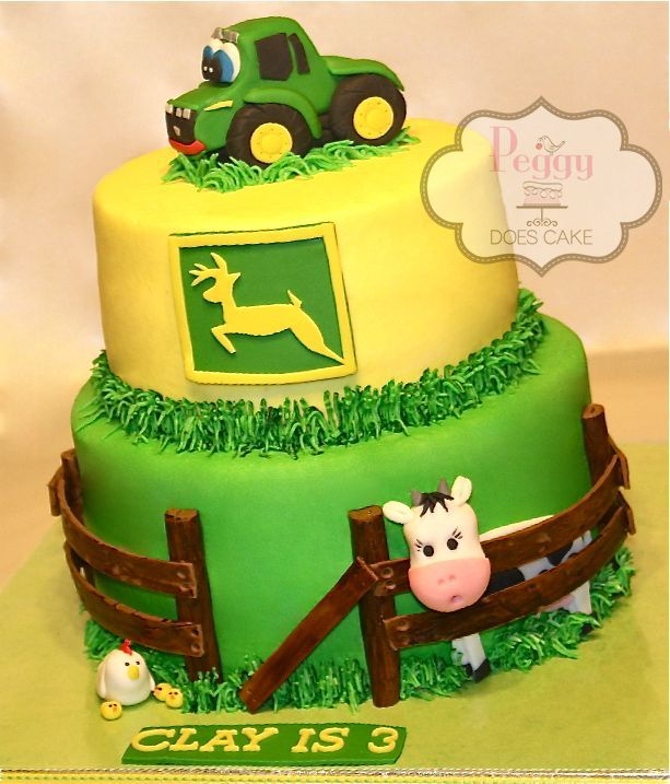 John Deere cake, butter cream with fondant detail. Free tutorial available for tractor here: http://www.peggydoescake.com/2013/12/tutorial-fondant-john-deere-tractor/