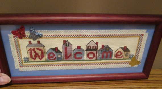 """Finished Cross Stitch - """"Welcome"""" Houses  - Mahogany Color Frame/Fringed Stitching/Blue Background/Butterflies - with Free Shipping"""