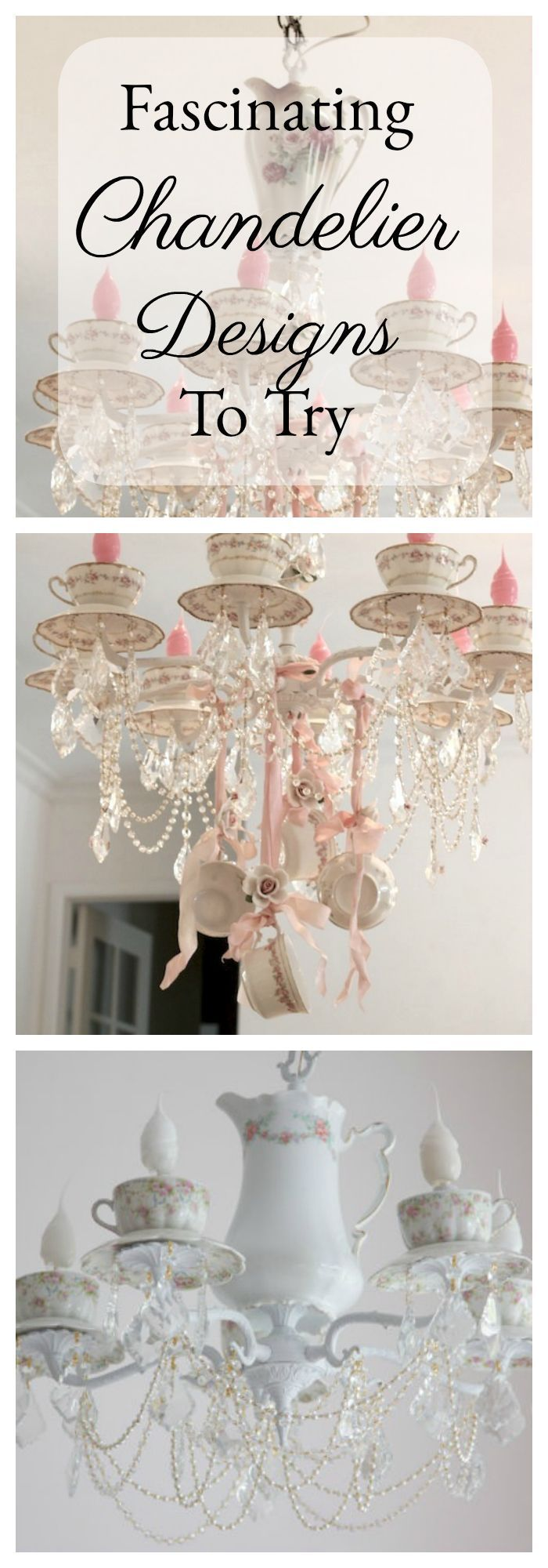 Chandeliers and candelabras that you can make for your romantic home with tea cups and mason jars.  Teacup lighting I teacup chandeliers I mason jar chandliers I candelabras