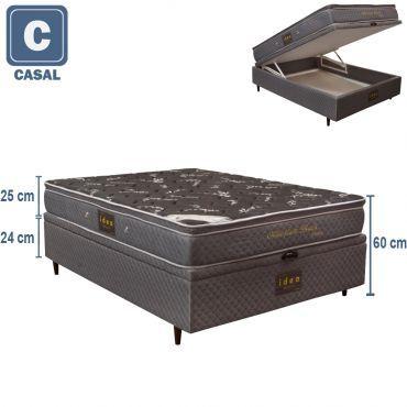 Cama Box com Baú + Colchão Casal de Molas Ensacadas Millenium Bambu Black com PillowTop e Tecido Jacquard Herval