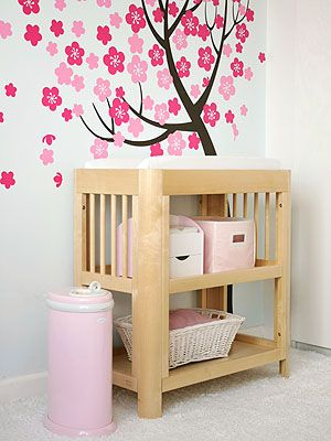 I love the mural on the wall.  It would look so cute in baby girl's room!