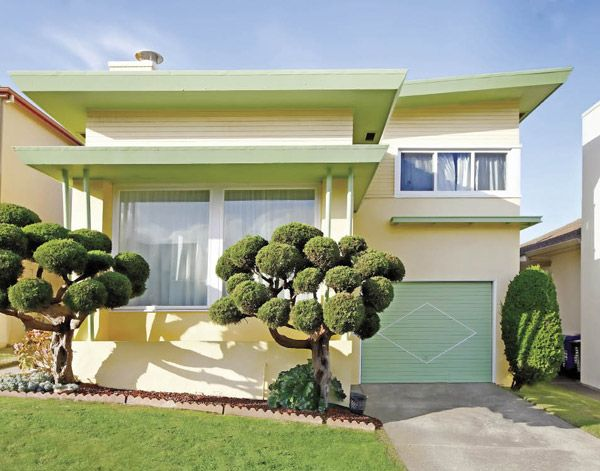 The shape of this house is to die for! And the sculpted olive trees, as well.