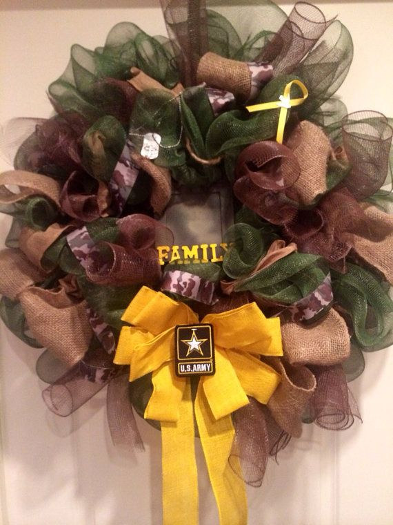 Camouflage military wreath by ATouchofTripp on Etsy, $80.00