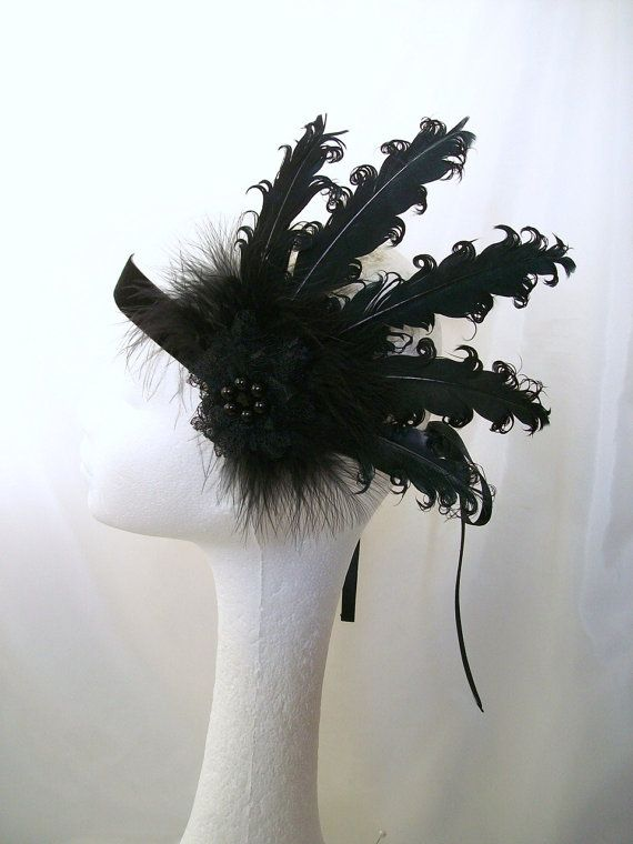 Black Curled Feather Lace & Pearl 1920's Flapper Ribbon Tie Head Band Halloween Great Gatsby Downton
