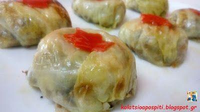 Κολατσιό από σπίτι !!: Ντολμάδες λάχανο σε γιορτινή συσκευασία!!!