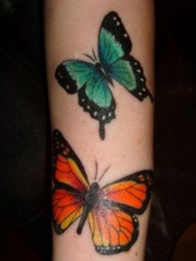 Butterfly tattoos(miss Dazy Graves)  - beginning of left sleeve by Sean Cahill #tattoo #colour #butterfly