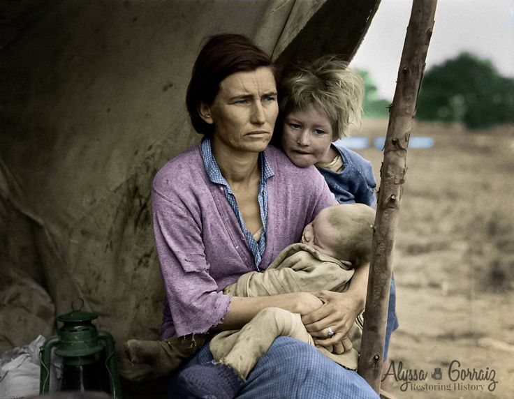 "This is an alternative shot to one of the most iconic images of the 1930's and the great depression.  Photographer, Dorothea Lange captures young mother Florence Owens Thompson sitting with her 2 children in this image.  Mrs. Thompson would go on in history to be known as the ""Migrant Mother"", although she was not happy about the release of the images.  Colored by Alyssa Gorraiz with Restoring History In Photos.  