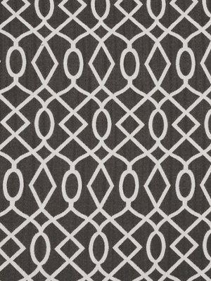 Encourage Fabric From Robert Allen Chalkboard Collection. A Woven Fabric  With A Circular Geometric Design In Silvery White On Charcoal.
