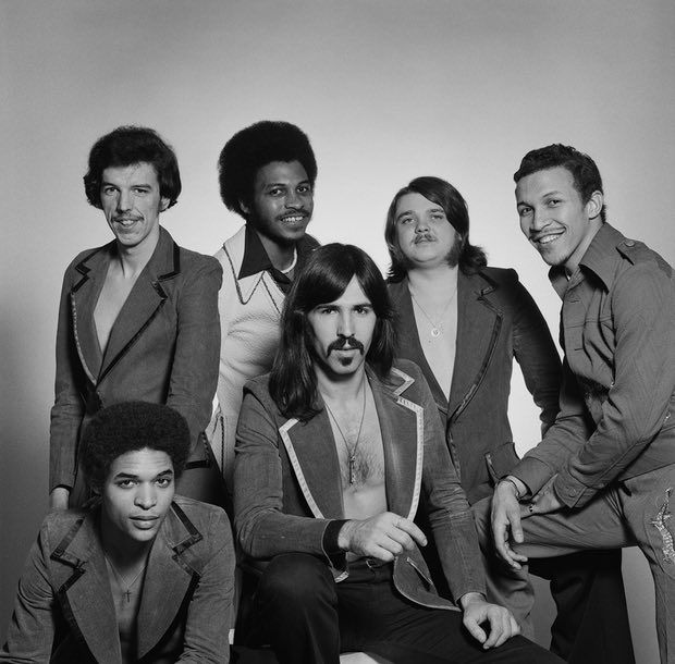 Rod Temperton and his disco band Heatwave, February 1976. Left to right: guitarist Eric Johns (front), keyboard player Rod Temperton, singer Keith Wilder, bassist Mario Mantese, drummer Ernest 'Bilbo' Berger and singer Johnnie Wilder Jr (1949–2006).