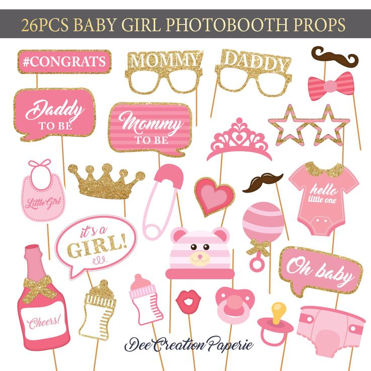 Printable Baby Girl Shower Photobooth Props   Baby Girl Photo Booth Props    Its A Girl