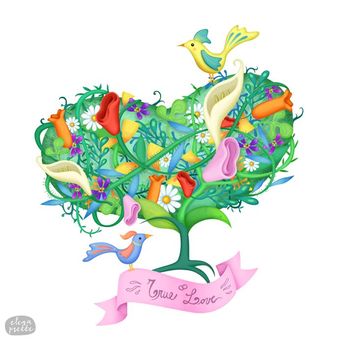 """Scent of love"" - flowers, love, wedding. Illustration by Elena Prette for Bottle-Up"