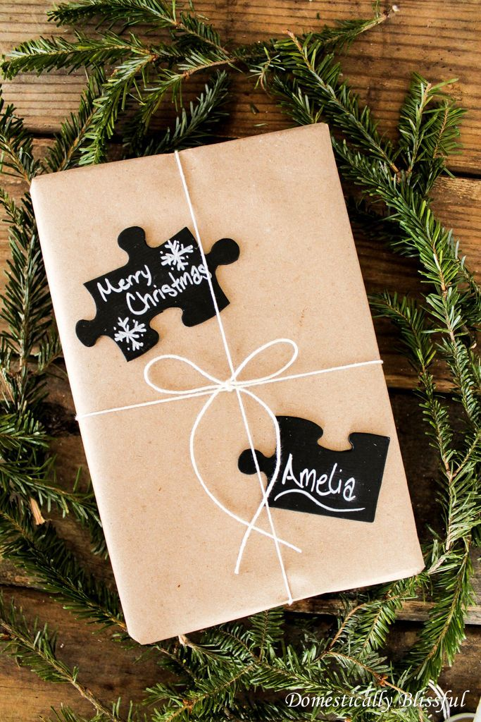 Chalkboard Puzzle Piece Gift Tags at Domestically Blissful. Cute Puzzle Pieces would be great for a gift tag and spread Autism Awareness. #AutismAwareness #Puzzlegifttag #chalkpaint