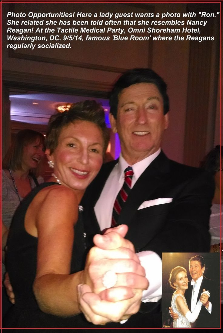 "President Reagan impersonator Tim Beasley enjoys a fun photo opp  ""paparazzi"" with a lady fan at the Tactile Medical Conference in Washington, DC at the historic Omni Shoreham Hotel."