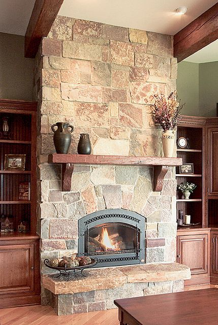 This is like the gas fireplace we picked out - don't like stone all the way up wall but like the hearth.