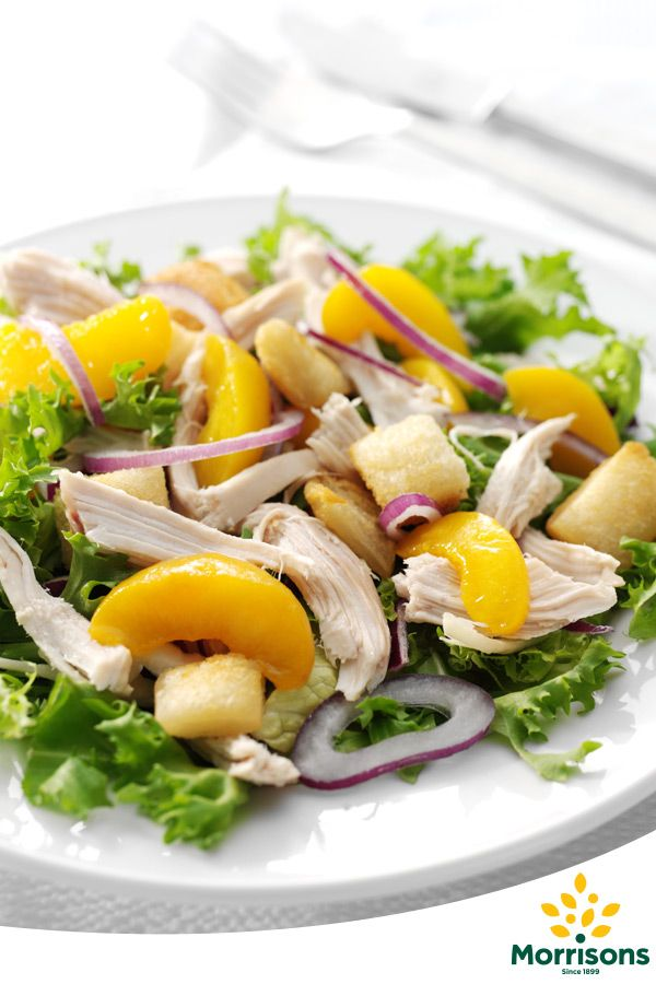 This salad is perfect for using up a bit of leftover chicken, it has a great crunch to it, and the peach helps to add sweetness. Make it today!
