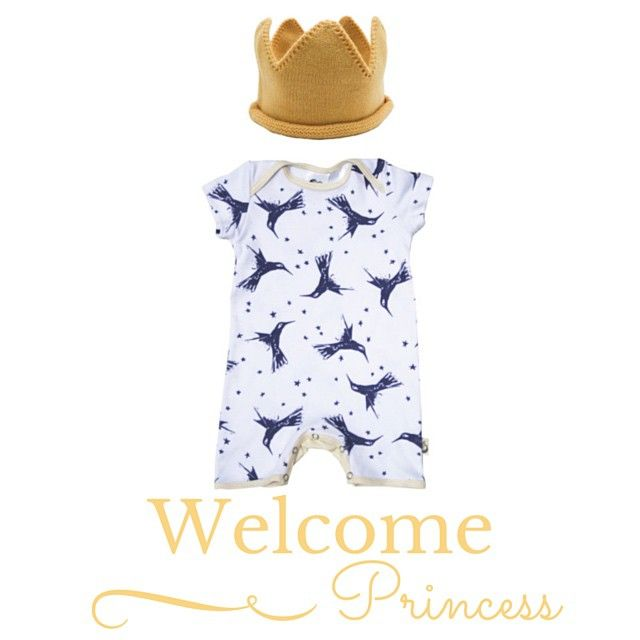 It's a girl! Congratulations to Kate and Will on the arrival of your new princess  Outfit fit for a princess #moonjelly #organiccotton #romper and how gorgeous is this @rupertandmilla Mini Royalty #crown #miniroyalty #princess #kidsfashion #babyfashion #rupertandmilla