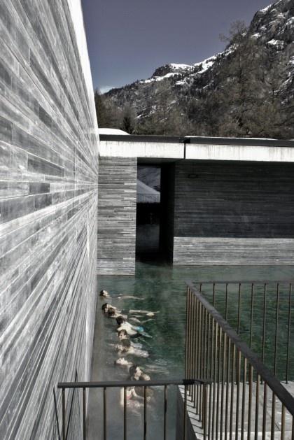 The Therme Vals. Location: Graubunden Canton, Switzerland; firm: Peter Zumthor, with Marc Loeliger, Thomas Durisch and Rainer Weitschies; year: 1996