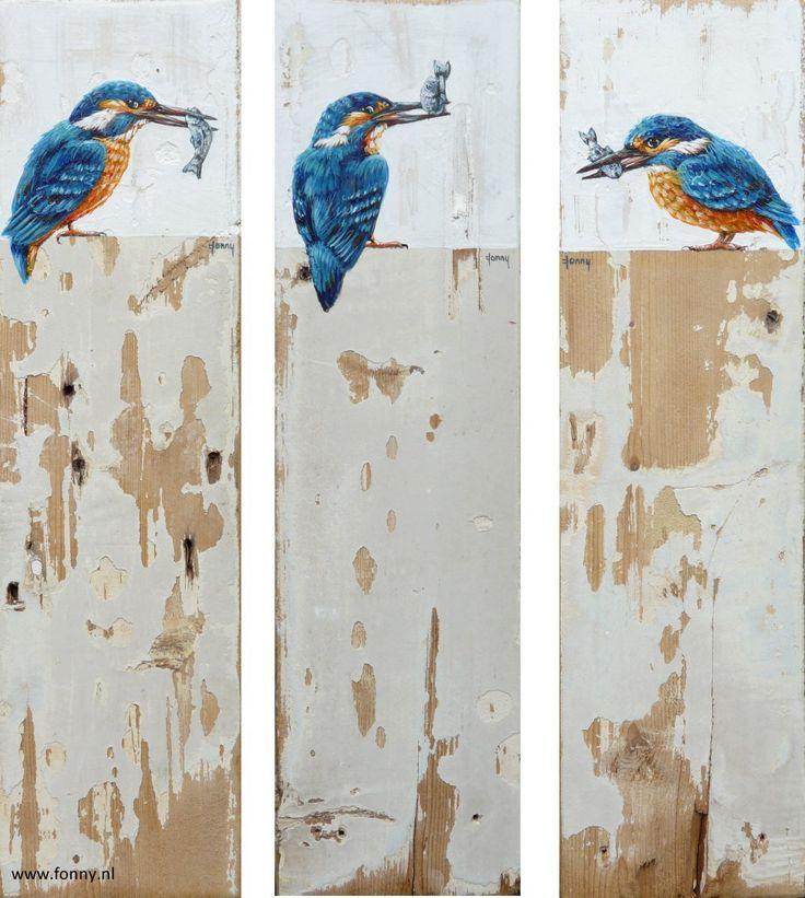 ijsvogel met vis / kingfisher with fish - 1 t/m 3 - à 34 x 9 cm | vogel | oud hout | schilderij | dieren | bird | old wood | painting | animals |