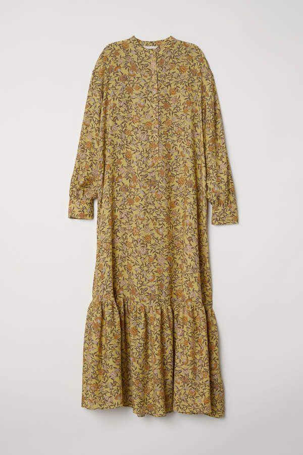 H M H M Long Creped Dress Yellow Floral Women Shift Dress Outfit Dresses Clothes