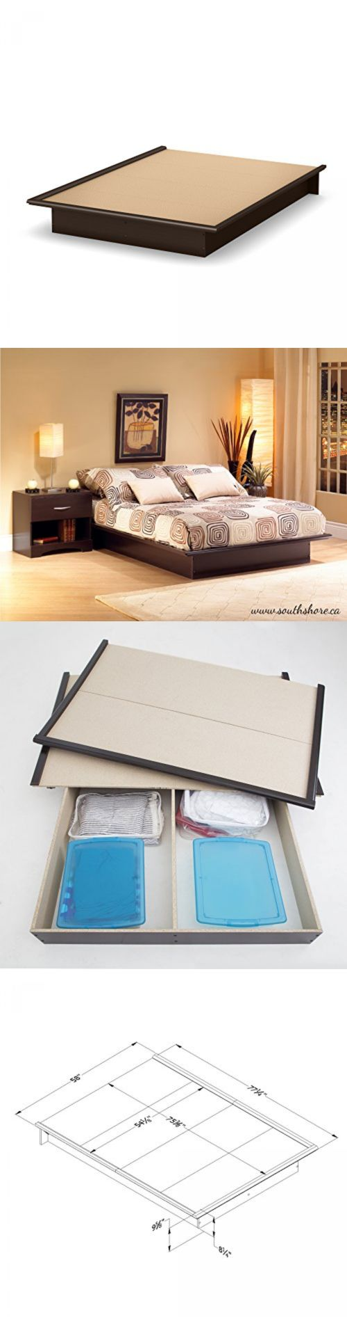 furniture: Modern Bedroom Furniture Queen Size Platform Bed Frame Brown Wood Foundation -> BUY IT NOW ONLY: $137.43 on eBay!
