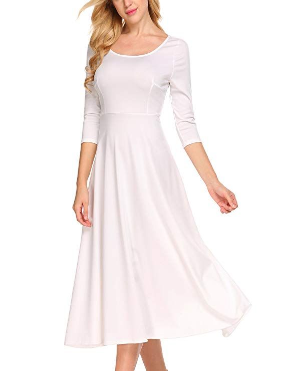 b389481e9c ACEVOG Women's 3/31 Sleeve A-line Casual Flare Midi Long Dress for Office  Business Work