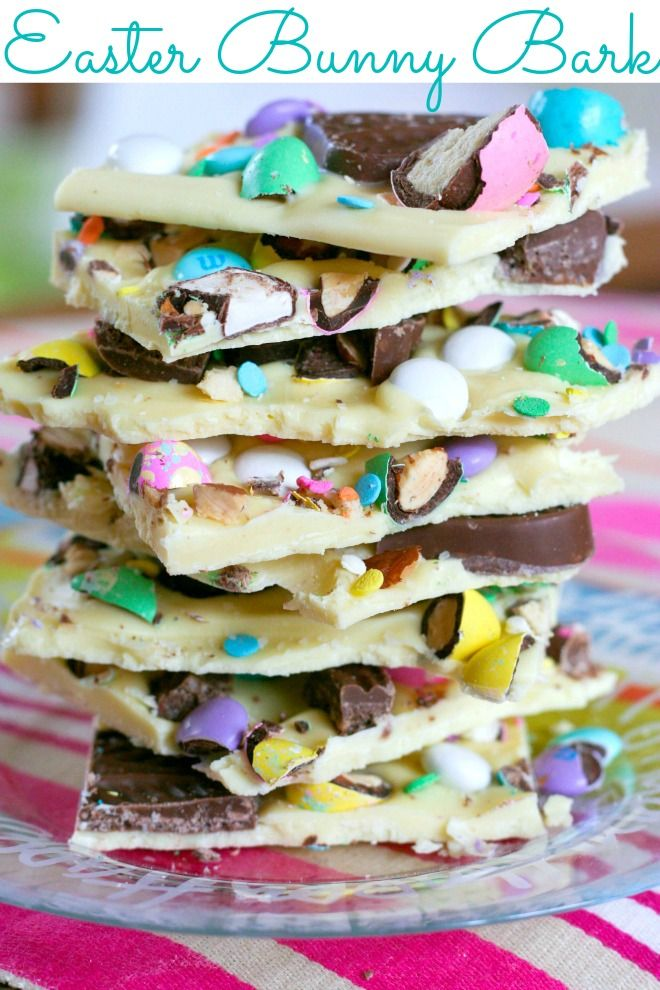 Easter Bunny Bark, use Mini Eggs, Maltesers bunnies & good quality white chocolate! Melt the chocolate, pour it into a flat baking tray. Add chopped eggs and whole or chopped bunnies! Leave to harden and cut into chunky squares! Delicious chocolate bunny bars!