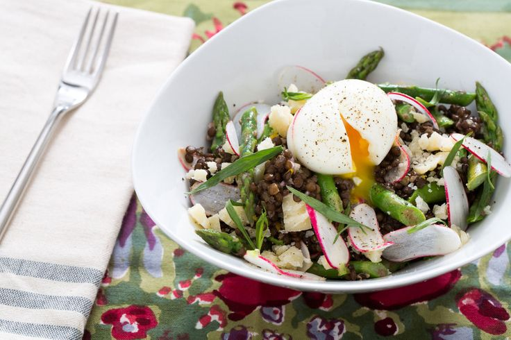 Beluga Lentil & Asparagus Salad with Soft-Boiled Eggs, French Breakfast Radishes