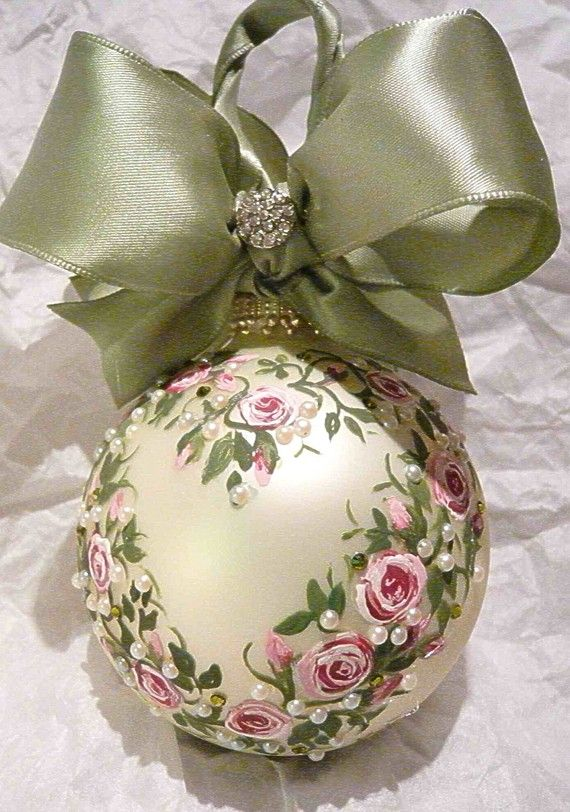 Handpainted, tole. {note to self: gotta buy some white satin-glass ornaments and ask by sister to paint them}