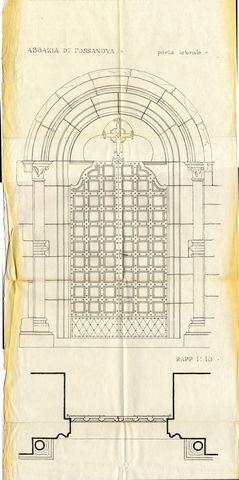 disegno della porta laterale dell'abbazia