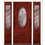 Feather River Doors 67.5 in.x81.625in.Silverdale Patina 3/4 Oval Lt Stained Cherry Mahogany Rt-Hd Fiberglass Prehung Front Door w/ Sidelites, Mahogany Woodgrain: Cherry Finish