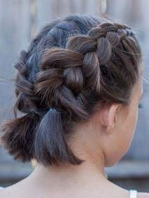 double dutch braids with short hair #braidsforlonghair #Shorthairwedding    Short hair wedding