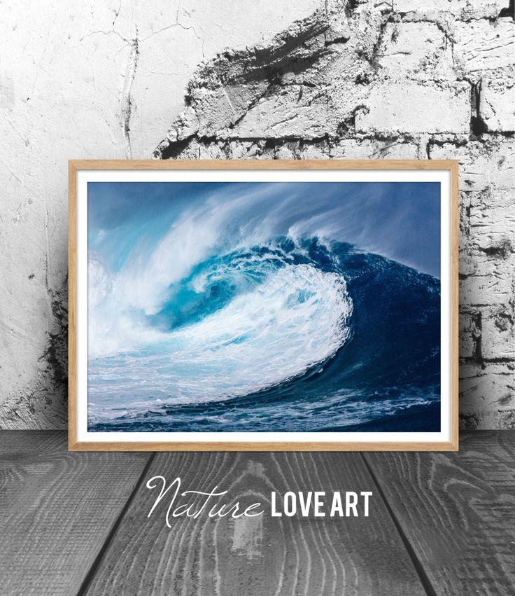 Photographie vague, photo océan, poster plage, décoration mer, tableau vagues, décoration nature, art mural, impression numérique, poster de la boutique NatureLoveArt sur Etsy