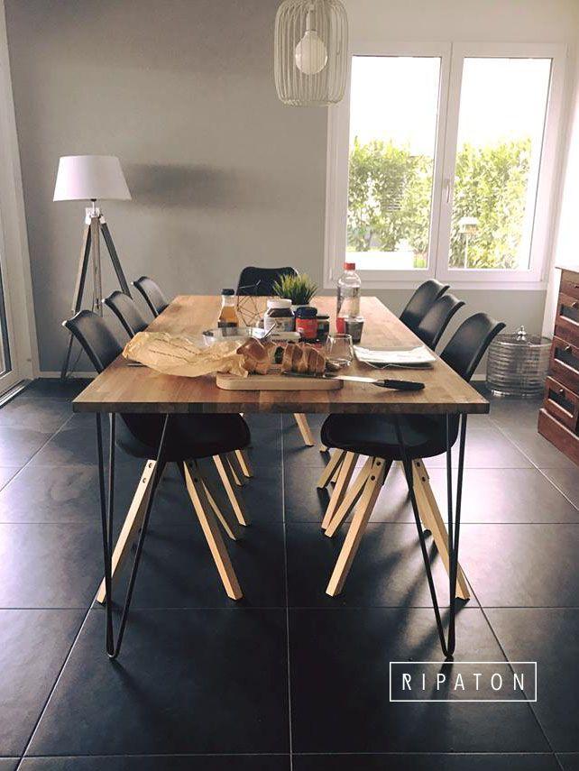 Atelier Ripaton - Hairpin Legs - Des pieds Généreux pour cette belle table de salle à manger ! Plus d'infos sur ripaton.fr